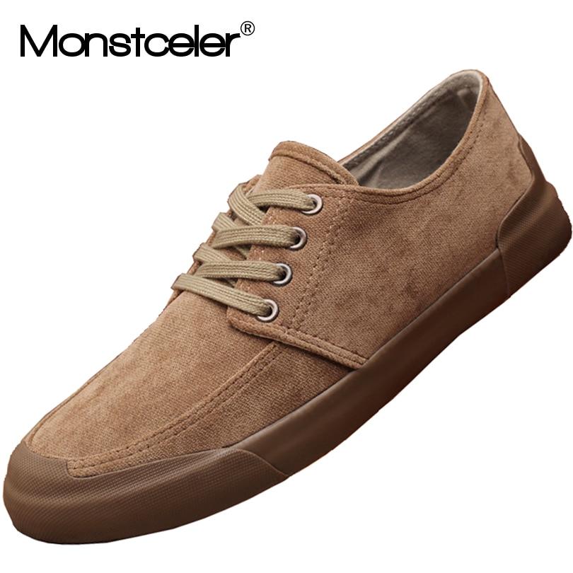 Monstceler Fashion Men Canvas Shoes Breathable British Style Rubber Sole Male Casual Shoes M7947
