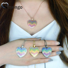 Women CZ Necklace,Fashion Jewelry,The Rainbow Series, Heart Shape, 4 Plating Colors,Can Wholesale,3pcs