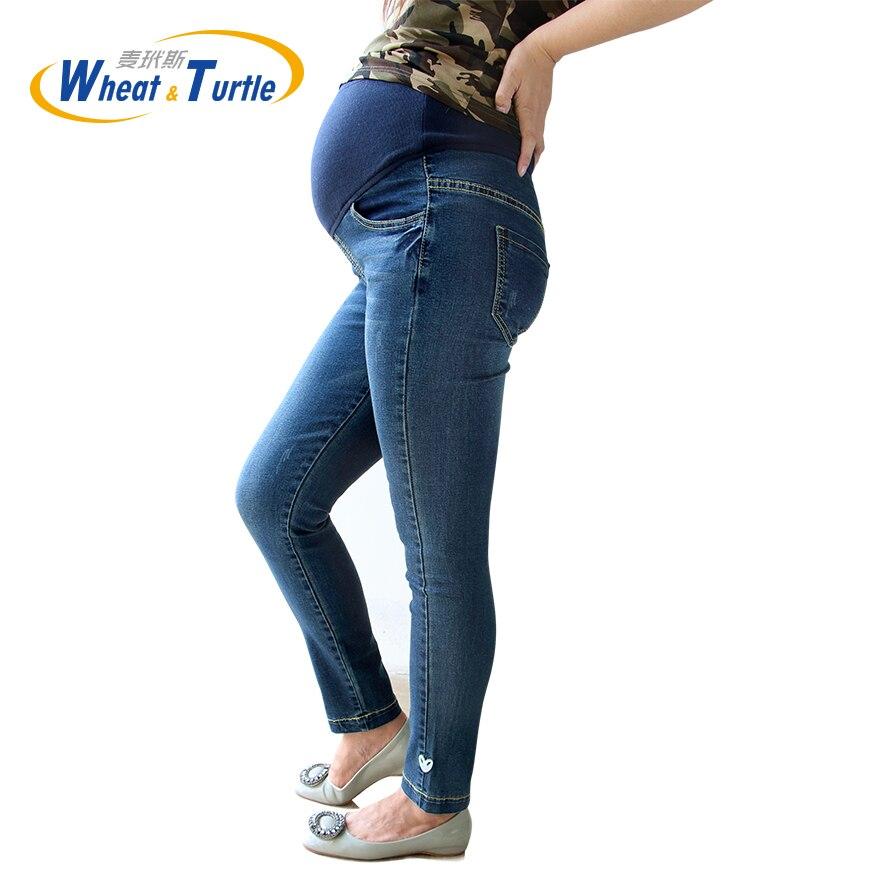 2017 New Arrival High Waist Justerbar Elastic Scratch Maternity Jeans, Heart And Star Pattern Denim Jeans För Gravida Kvinnor