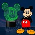 HUI YUAN Mickey Mouse 3D Humor Lâmpada Night Light RGB Mutável LED decorativo candeeiro de mesa de luz ac 5 v usb obter um free contro remoto