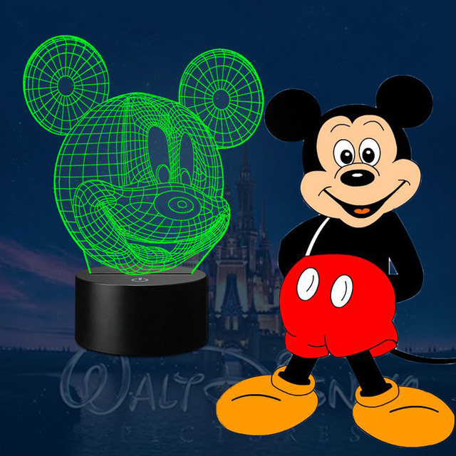 HUI YUAN Mickey Mouse 3D Night Light RGB Changeable Mood Lamp LED Light AC 5V USB Decorative Table Lamp Get a free remote contro