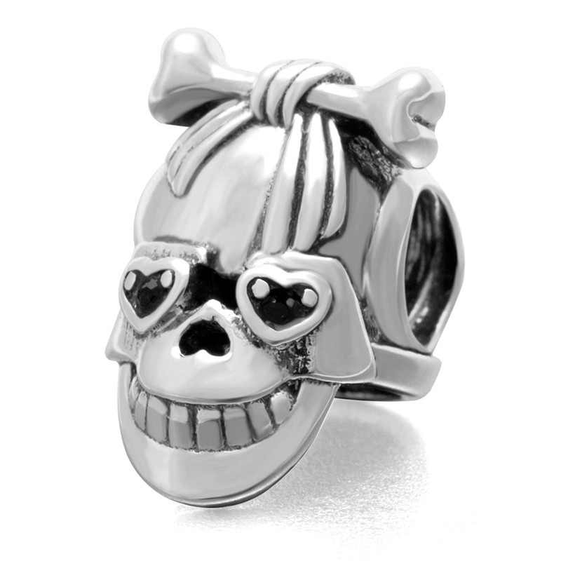 authentic 925 sterling silver jewelry black crystal skull silver beads charms fits pandora original bracelets free authentic black crystal