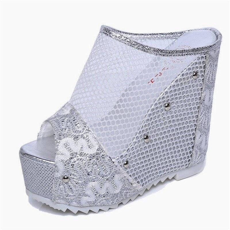 6bf3757f YEERFA nuevos zapatos del verano mujeres zapatillas Romanas sexy tela Neta  zapatos de oro sandalias de tacón alto Del Club Nocturno de moda zapatos de  mujer ...