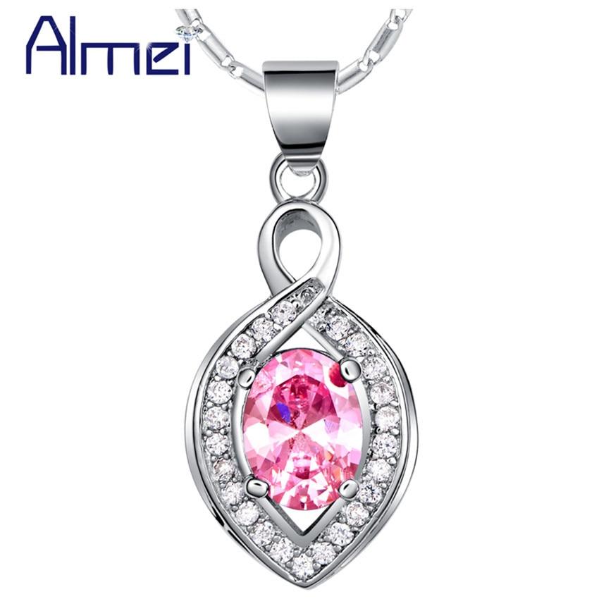 ⃝Almei Колье серебро Цвет с розовый синий со стразами Модные ... 0549f2daa2a