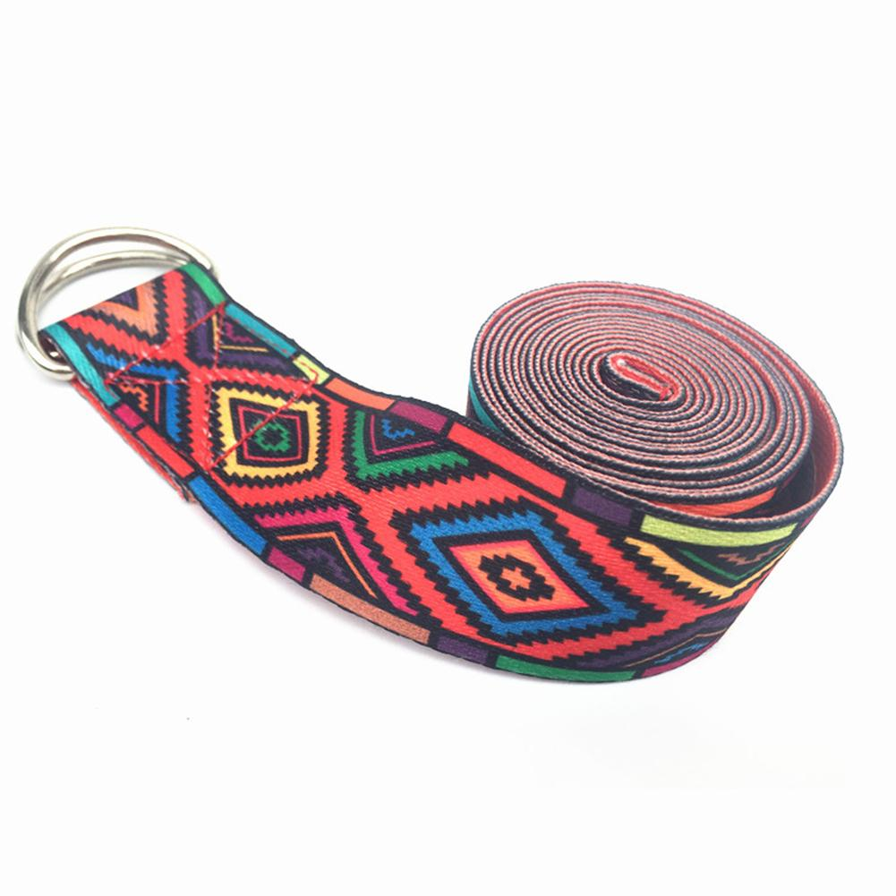 Color Pattern Stretchy Yoga Band Durable Cotton Exercise Strap Adjustable D-Ring Buckle Gives Flexibility For Yoga