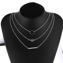 купить European and American Combination Fashion Joker Metal Bar Necklace Wholesale Heart Necklace  Pearl Necklace  Choker онлайн