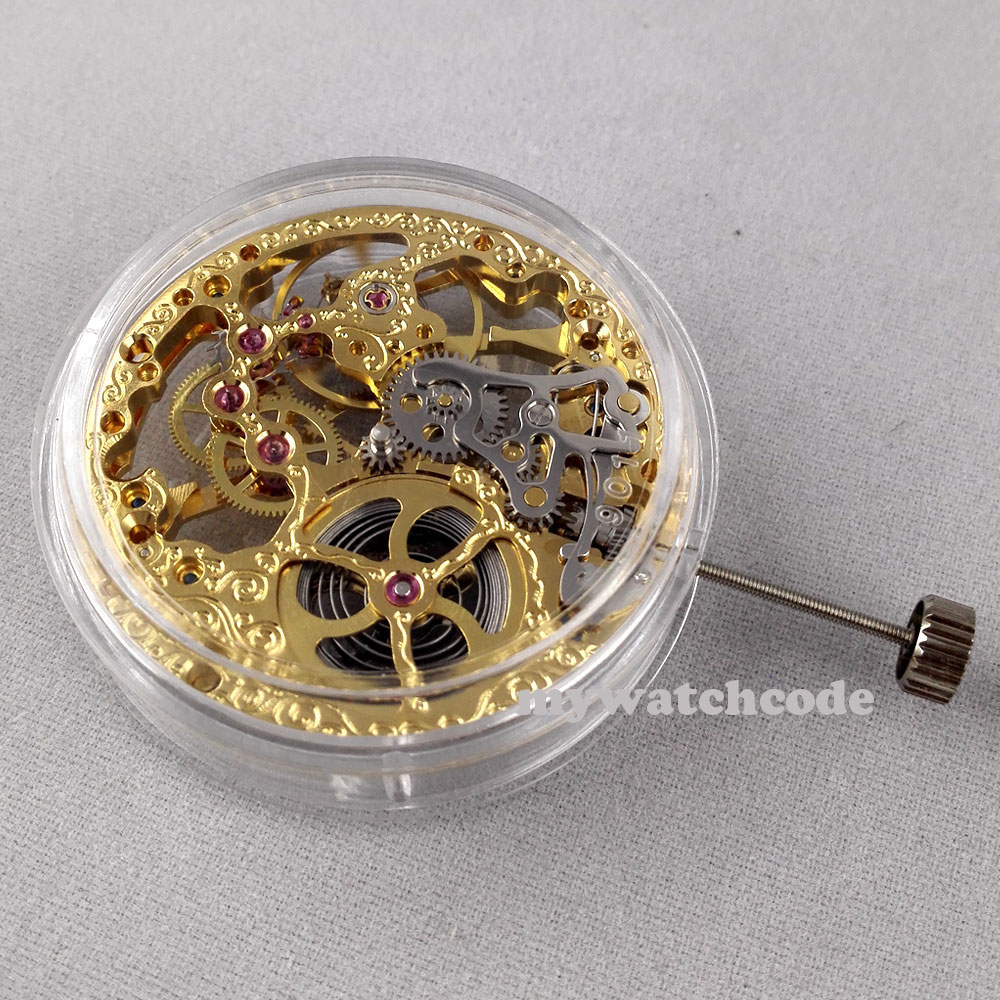 17 Jewels mechanical Gold Full Skeleton Hand Winding movement fit parnis watch 4 цена и фото