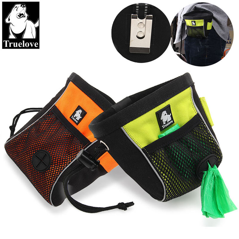 Truelove Portable Travel Dog uzkodu maisiņš Reflective Pet Training Piespraužams maisiņš maiss Viegli uzglabāšanas jostu soma Poop Bag Dispenser