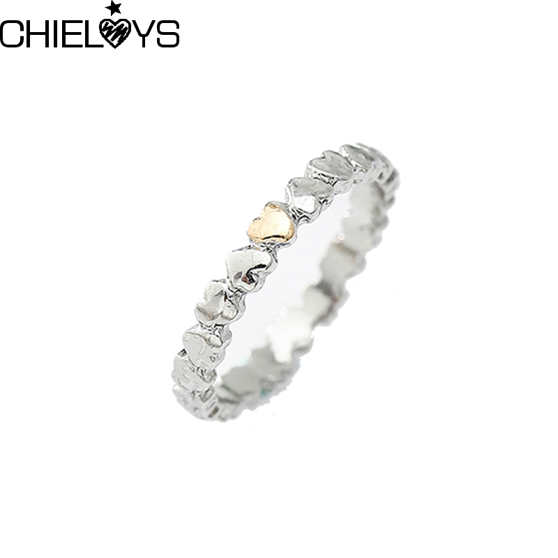 CHIELOYS Authentic Silver Plated LOVE Heart Arrangement Pan Ring Jewelry Antique Silver Original Finger Rings R035