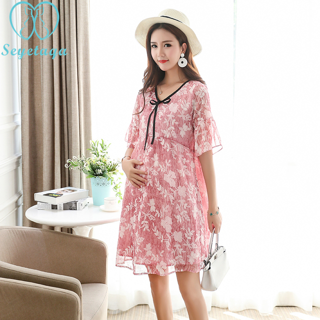 7381946c93f 2270  2018 Summer Korean Fashion Maternity Dress Floral Print Chiffon  Clothes for Pregnant Women Office Pregnancy Clothing Wear
