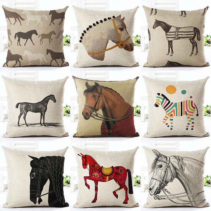 Various Cartoon Horse Printed Linen Cotton Square 45x45cm Home Decor Houseware Fashion Throw Pillow Cushion Cojines Almohadas