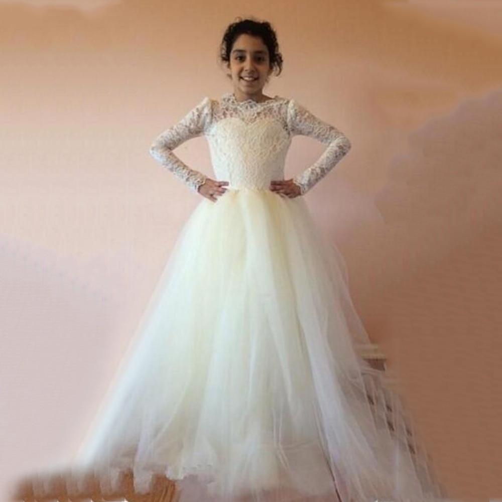 White 2019 Long Sleeves Lace Flower Girl Dresses O Neck First Communion Dresses For Girls Long Little Bride Dress M1066