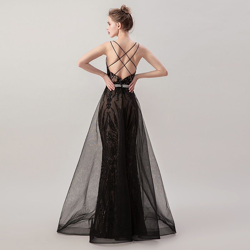 Beading Black Long Mermaid Evening Dresses with Detachable Tulle Skirt Sequin Sexy V neck Criss Cross Backless Prom Gowns L5265-in Evening Dresses from Weddings & Events    3