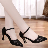 PKSAQ Women's High Heels Shoes Hollow Out Plus Size 33 40 Sexy Woman Shoes Black Pointed Toe Wedding Party Pumps Stiletto