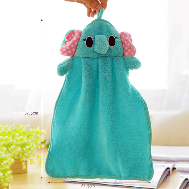 2018 Newest Candy Colors Soft Coral Velvet Cartoon Animal Towel Can Be Hung Kitchen used