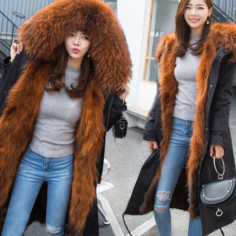 2018 parkas naturel renard de fourrure d'hiver manteau femmes veste grand raton laveur col de fourrure capot long parka survêtement 3 en 1 marque casual nouveau