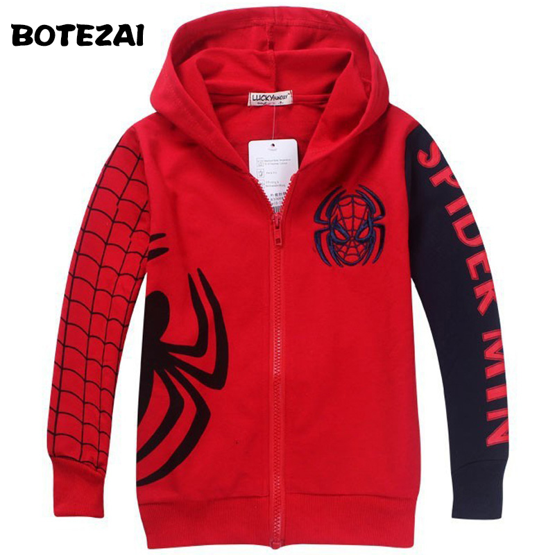 Retail New Style Spiderman Clothes 2017 Spring Autumn children hoody boys hoodie jackets Kids cartoon spiderman coat