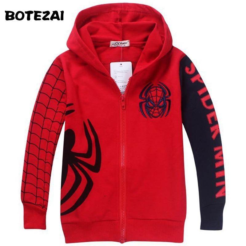 Retail New Style Spiderman Clothes 2017 Spring Autumn children hoody boys hoodie jackets Kids cartoon spiderman coat