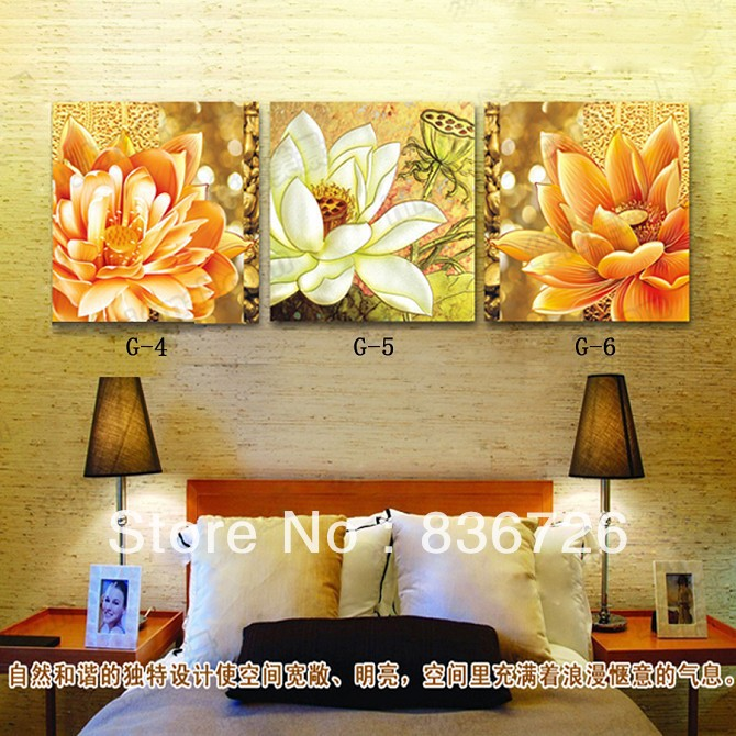 3 piece canvas wall art wall decorations bed room headboard floral wall art contemporary bedroom set