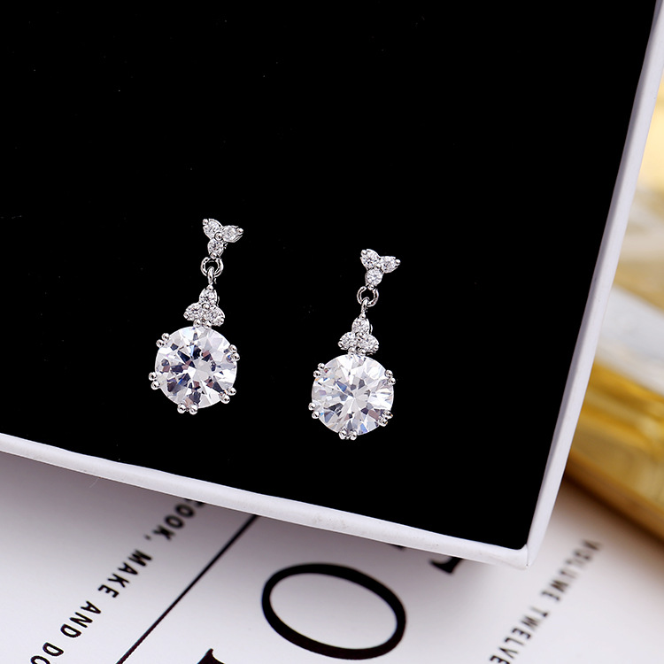 SWOUR New Fashion Jewelry S925 Sterling Silver Cubic Zircon CZ Three Leaf Round Shaped Dangle Earrings For Woman S299