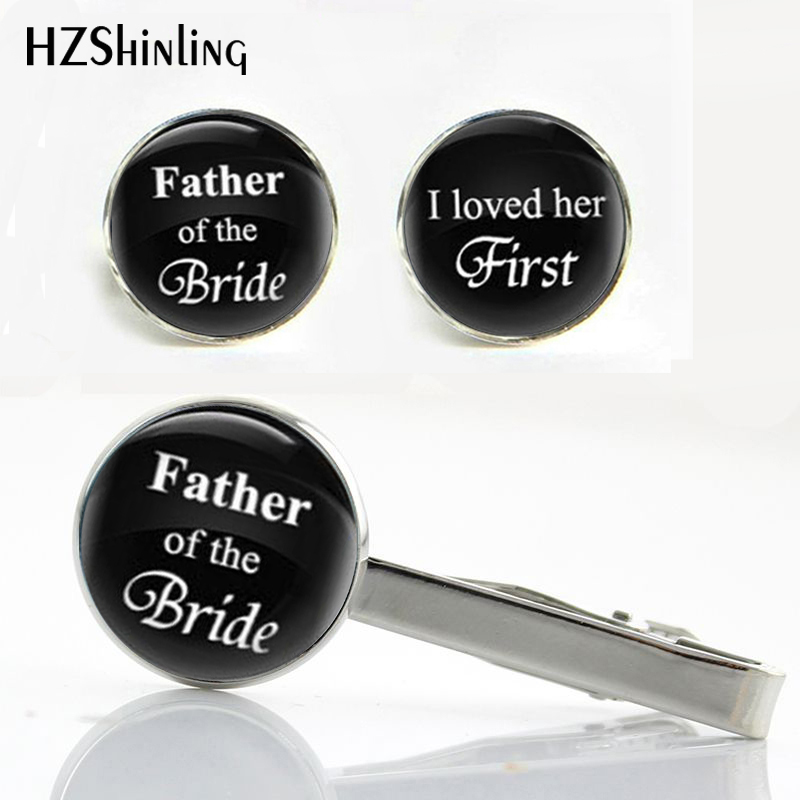 CT--004 New Father of the Bride Clips Cufflinks Set I Loved Her First Cufflink Glass Wedding Party Tie Clip Gifts