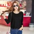 Mujer de Manga Larga Camiseta Floja Ocasional Tops Otoño Moda Ropa Coreana Dobladillo Irregular del o-cuello Sólido Ropa de Talla grande Caliente venta
