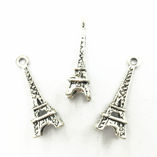 10Pcs Antique Silver Tone Pendants For Necklaces France Eiffel Tower Metal Craft Charms Jewelry DIY Accessories 23mm