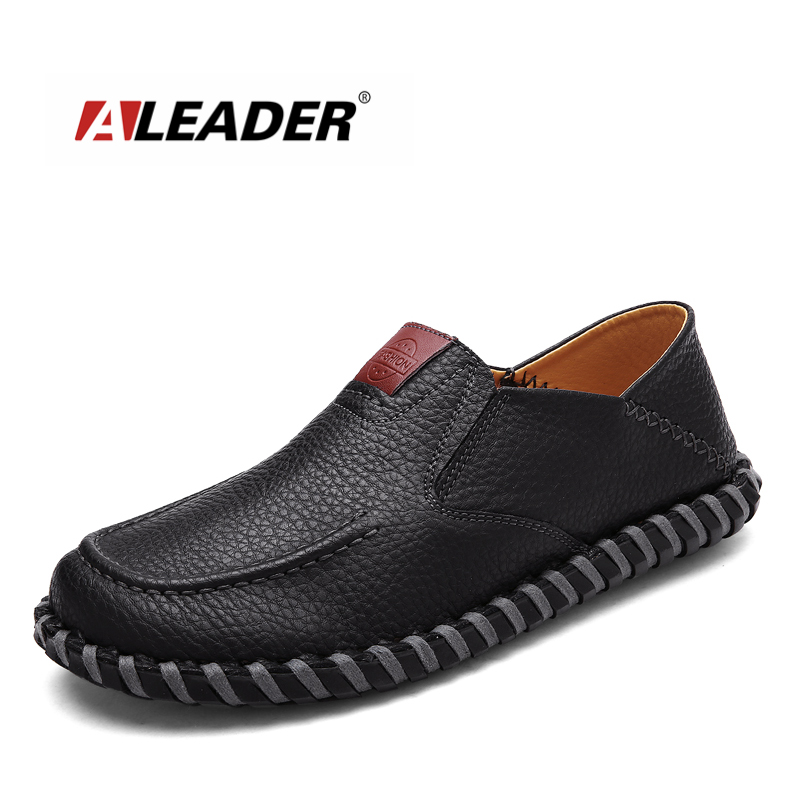 Aleader New 2016 Leather Handmade Loafers Men Fashion Shoes Casual Soft Driving Shoes Men Moccasins Slip On Flat Male Sapatos handmade genuine leather men s flats casual haap sun brand men loafers comfortable soft driving shoes slip on leather moccasins