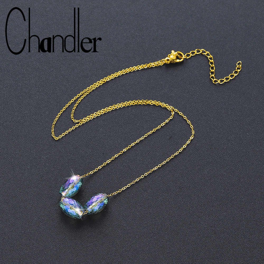 Chandler NEW Colored Glass Necklace Bead Pendant Necklace For Women Oval Crystal Charms Statement Chokers 2019 Fashion Findings