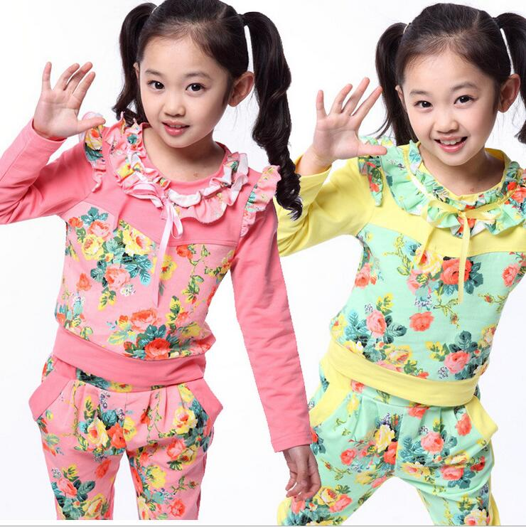 Tracksuit For Girls Long Sleeve Suit Child Clothes Spring And Autumn Vetement Enfant Fille Princess Floral Two-piece Children girls tracksuit long sleeve autumn clothes set striped hood shirt