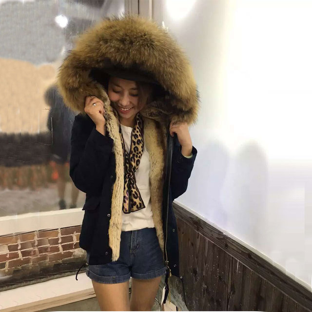 women short style winter jacket big raccoon fur collar, free shipping navy blue faux rex rabbit fur lined Mrs furs coat in Faux Fur from Women's