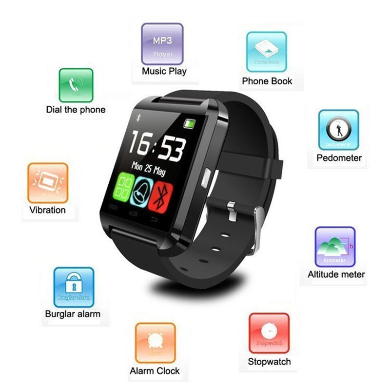 2019 Men Bluetooth U8 Smart Watch With Camera Bluetooth Wristwatch For Android IOS Phone Smartwatch PK DZ09 A1 Q18 M26 GT08 T8
