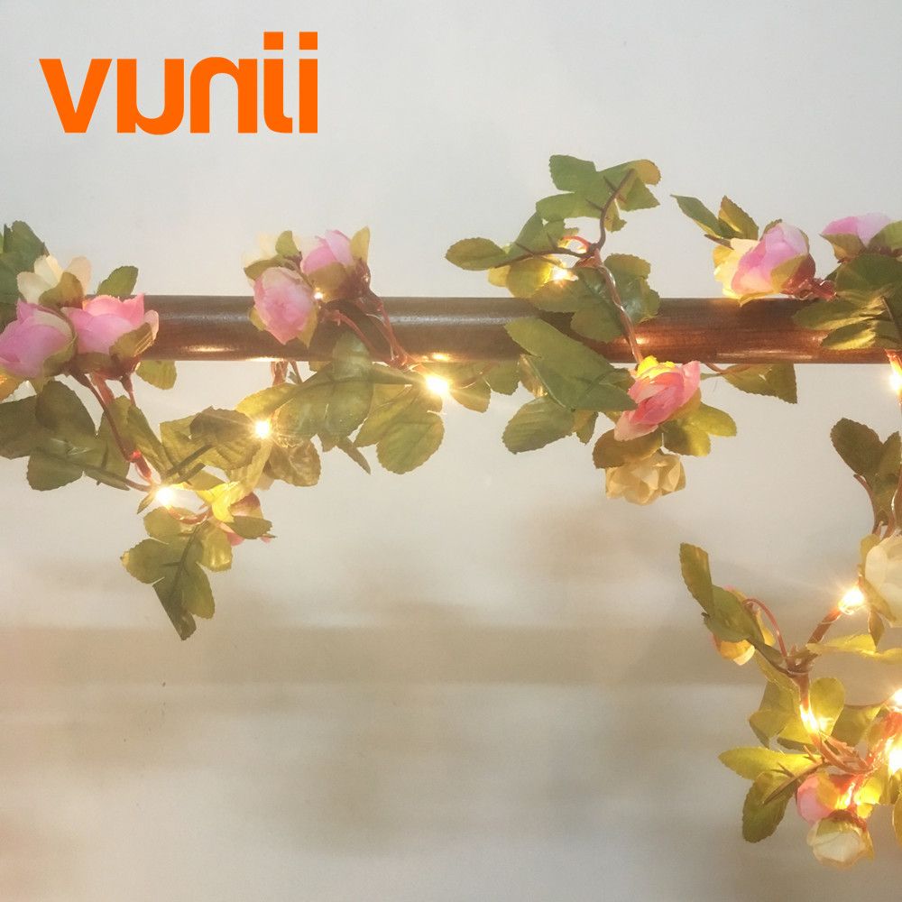 2.2M 25 LED pink rose flower garland battery operate Copper LED fairy - Holiday Lighting