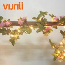 2.2M 25 світлодіодний рожевий квітковий квітковий гірляндний акумулятор працюють Мідні світлодіодні камінні вогні для різдвяної весільної прикраси