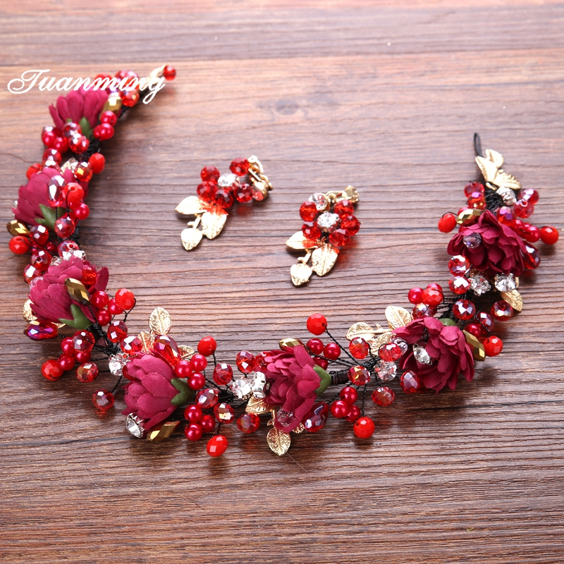 TUANMING Red Pearl Crystal Flower Wedding Headband Earring For Women Hair Jewelry Tiara Wreath Bride Crown Hair Accessories