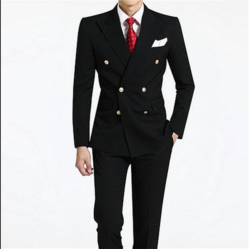 Doble-breasted groomsmen pico lapel Groom Esmoquin negro mens Trajes boda  mejor hombre traje (chaqueta + Pantalones + tie + hankerchief) b675 68603a4a871
