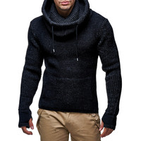 2018 New Autumn Winter Sweater Mens Long Slim High Collar Pullover solid color Sweater Knitted Jumper Tops Bib drawstring