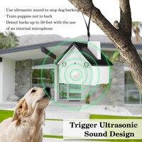 كلب مبيد بالموجات مكافحة نباح التدريب ، شكل birdhouse outdoor الكلب توقف لا النباح مراقبة جهاز التدريب للماء e2