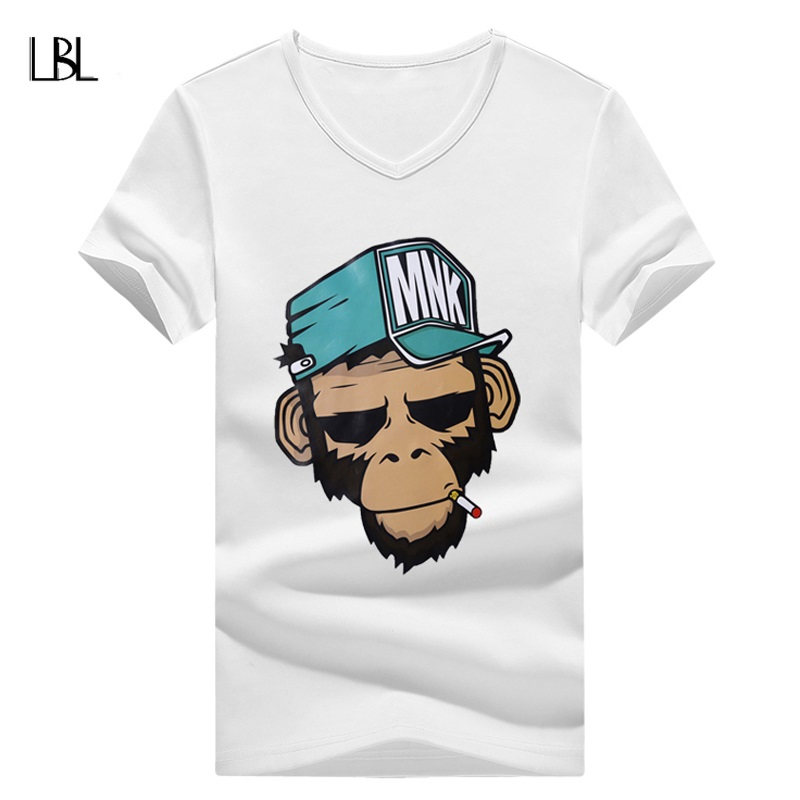 Fashion Print T Shirt Men Summer Top Tee Homme Brand Clothing Men New Fitness 2018 Casual Men Animal Monkey Pattern Short Sleeve