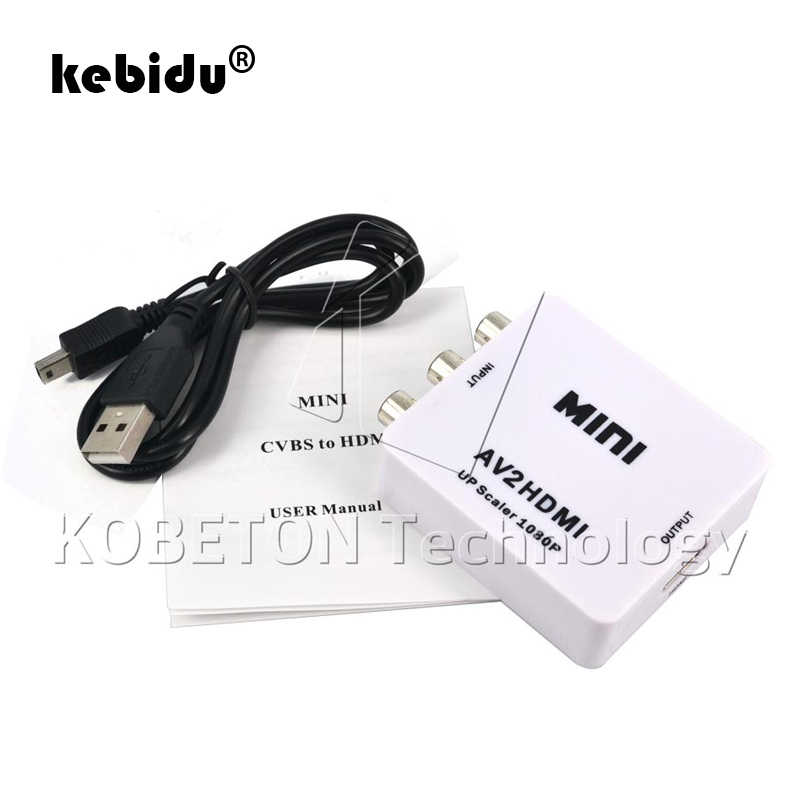 Kebidu Full HD 1080 P MALE To Female RCA AV Ke HDMI Converter Adaptor Mini Komposit CVBS untuk HDMI AV2HDMI audio Converter