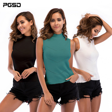 PGSD New Simple Fashion Pure color Women Clothes High collar sleeveless knitted bottom ribbed Vest Jacket sweater female