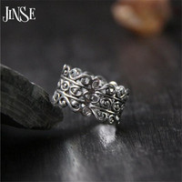JINSE Pure 925 Silver Vintage S 8 Ring Hollow 100 S925 Sterling Solid Silver Rings For