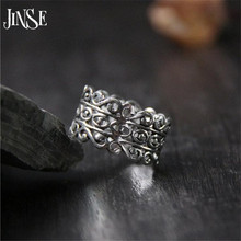 JINSE Pure 925 Silver Vintage S&8 Ring Hollow 100% S925 Sterling Solid Silver Rings for Women Jewelry Adjustable Size 10.90mm s925 pure silver vintage ring men s personality gold wings patron saint silver ring