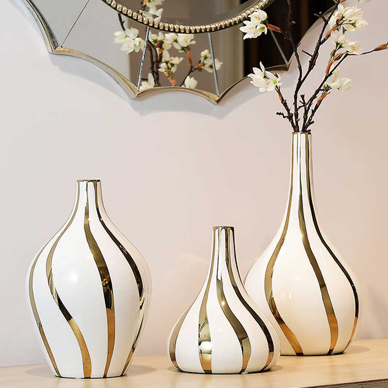 Nordic High Quality Gold Rim Ceramic Vase Decoration Tabletop Big