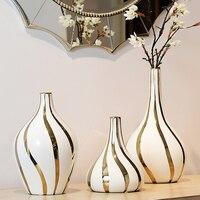 Nordic high quality gold rim Ceramic Vase decoration Tabletop big Vases Handmade Vase flower vases for home decoration