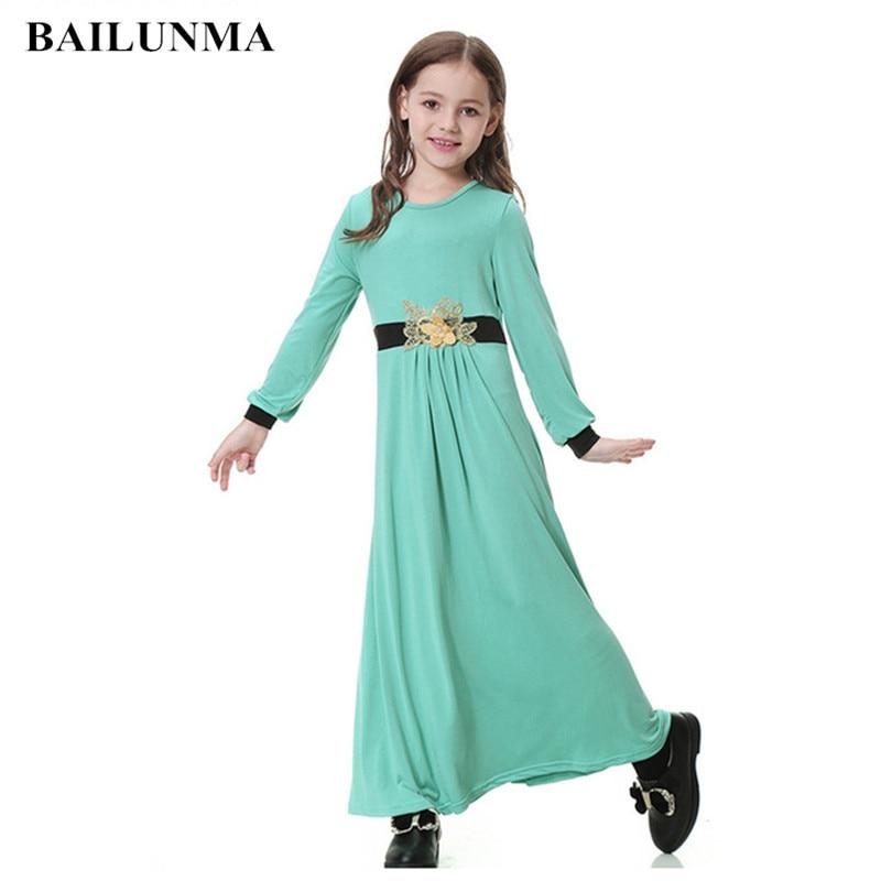 Appliques Muslim Girl Dress Abaya Robe Arabian Dress Abayas For Sale