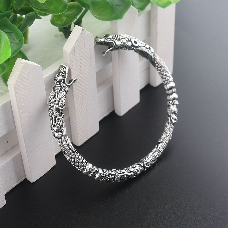 Handmade Opening Vikings of Midgard Bangle Double wolf faucet head bracelet two headed Wolf Bracelets for Men Jewelry gift in Bangles from Jewelry Accessories