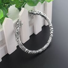 Handmade Opening Vikings of Midgard Bangle Double wolf  faucet head bracelet two-headed Wolf Bracelets for Men Jewelry gift