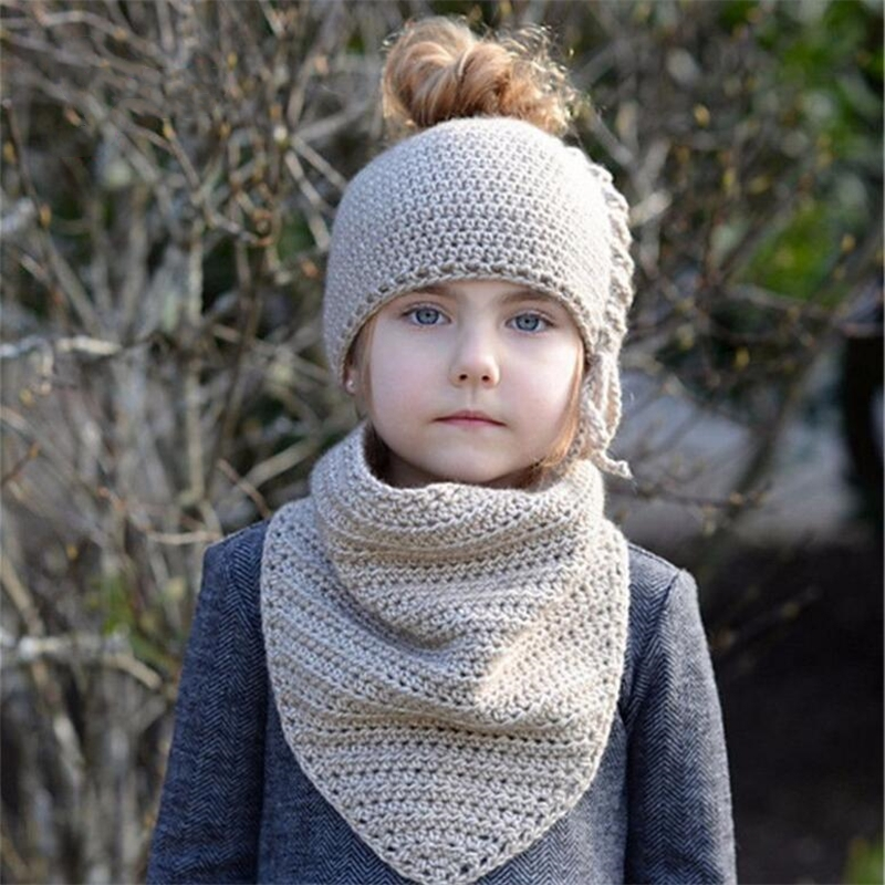 IANLAN Children Cute Winter Warm Hats Scarves For Kids Sets Headband Style Girls Solid Knit Wool Caps Neckerchiefs Set IL00191