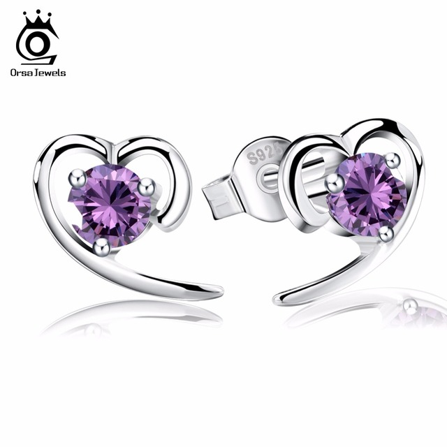 Orsa Jewels Heart Shape Silver Earring Studs Luxury 1 5ct Aaa Purple Clear Crystal